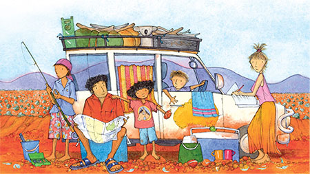 colourful illustration of a family of five with their car full of camping equipment and luggage